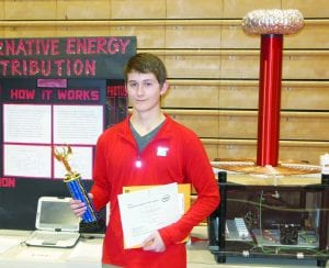GHS senior Austin Dutenhoeffer (Eric Dutenhoeffer/Tricia Dutenhoeffer) will travel to Las Angeles in May for the Intel International Science and Engineering Fair. He competed in the senior division Engineering/Computer Science/Mathematics category of the Northern SD Science and Math Fair in Aberdeen last week where he showed the Tesla coil he created as part of the science project Alternative Energy Distribution.